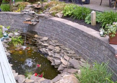 Cleveland, Ohio – Use A Retaining Wall To Create A Pond With Waterfall