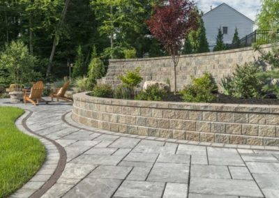 Brecksville, Ohio – Retaining Wall installed to Create Usable Yard Area