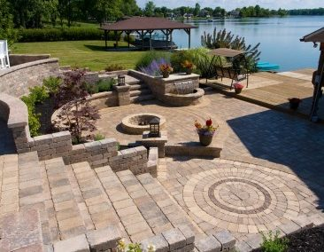 Lake Road, Avon Lake, Ohio – Multi-Tiered Patio With Many Features Allows Entertaining in Style