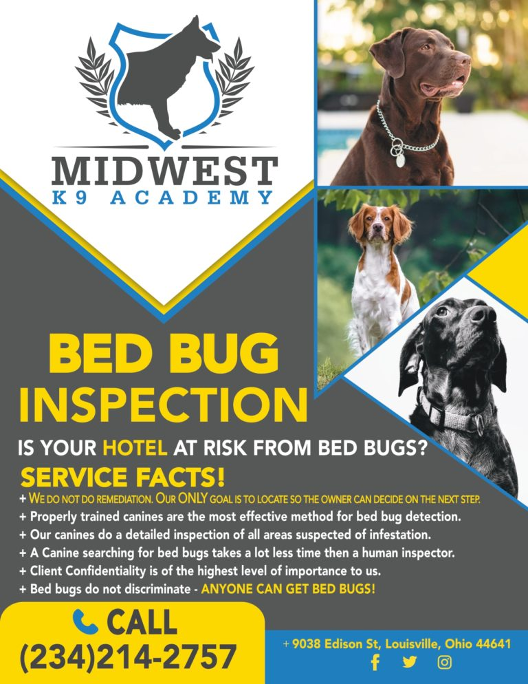 flier advertising Midwest K9 bed bug detection services