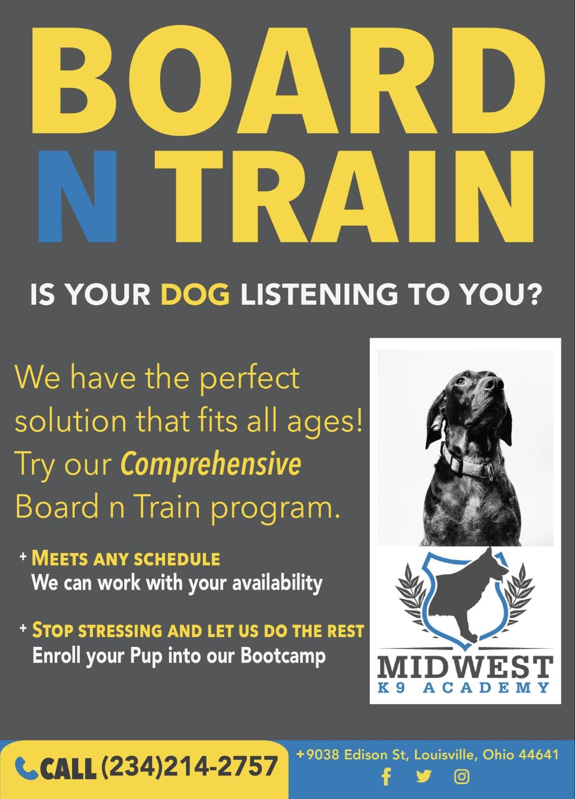 board and train advertisement for Midwest K9 Academy